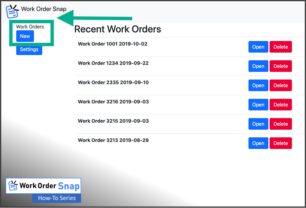 work order snap create new work order