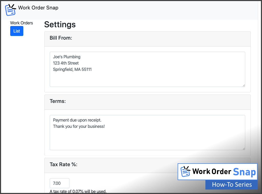 work order snap default settings edit page change settings how to use
