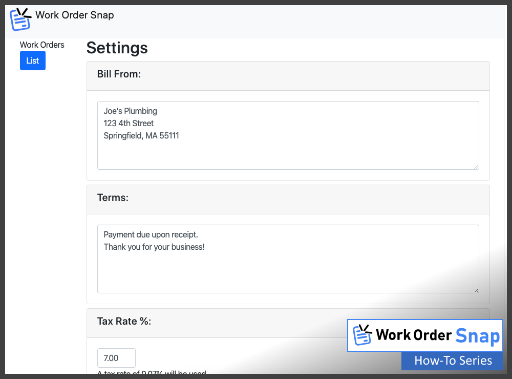 work order snap default settings edit page change settings