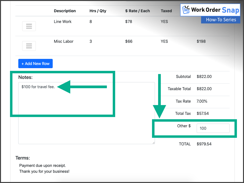 work order snap enter order notes fields
