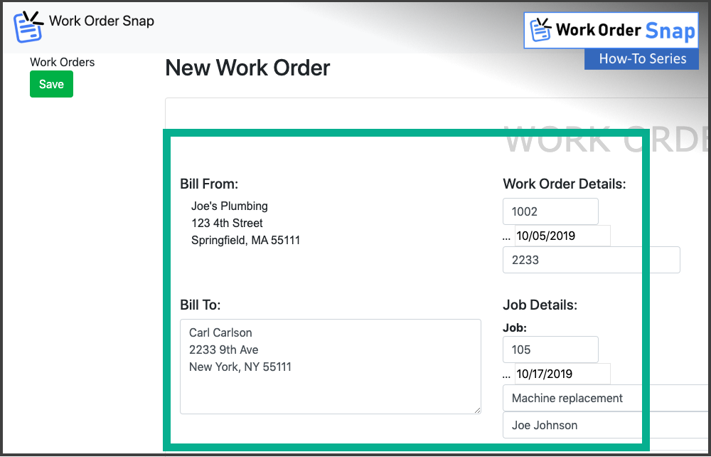 work order snap enter work order job details