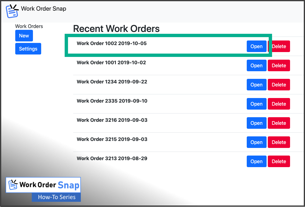 work order snap list show created work order