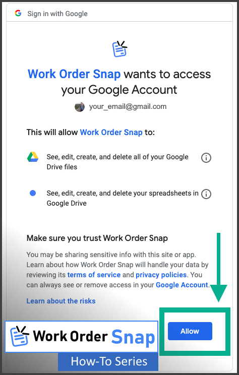 work order snap login grant permission access google account