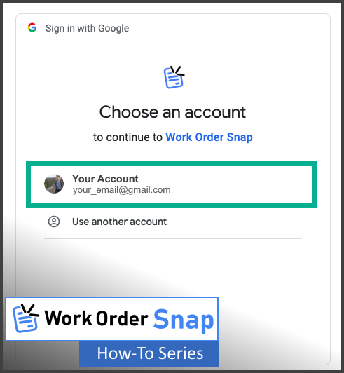 work order snap login grant permission signin application