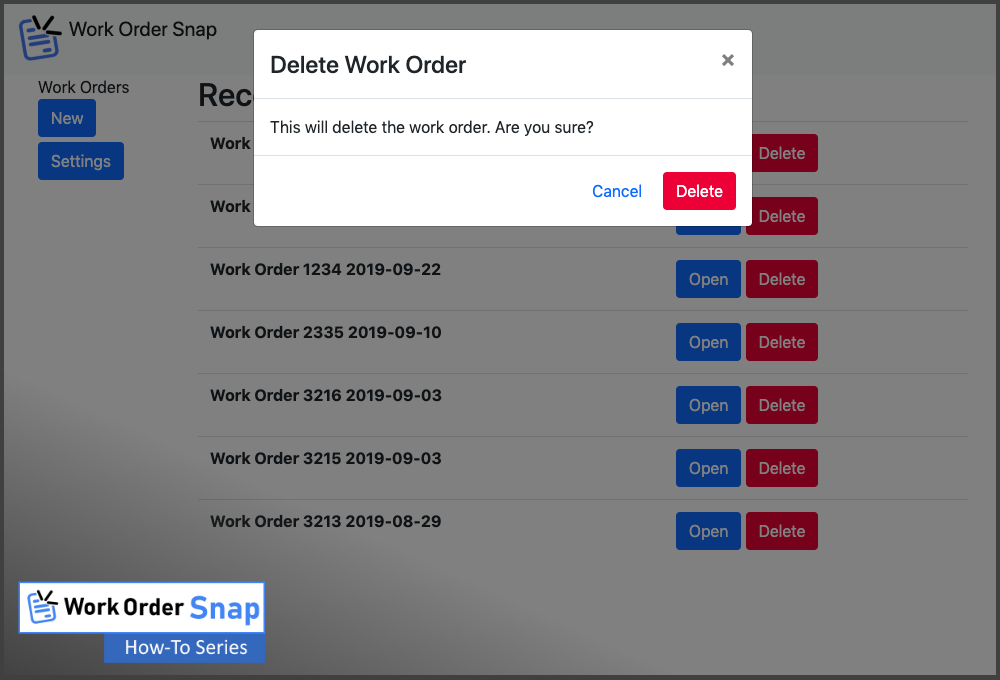 work order snap remove delete confirm removal how to use