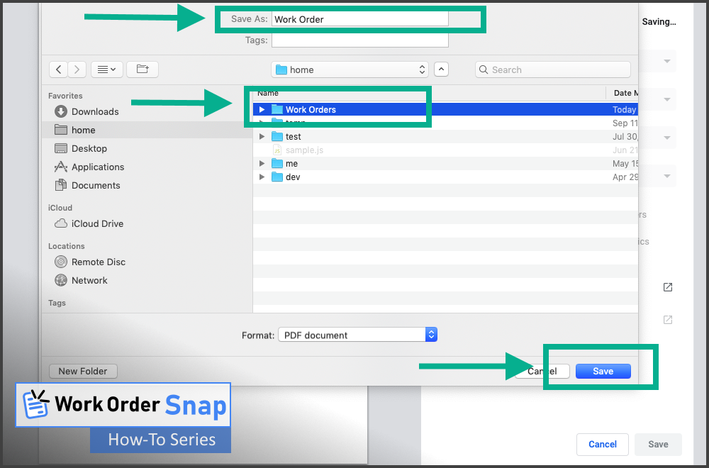work order snap save pdf format file location