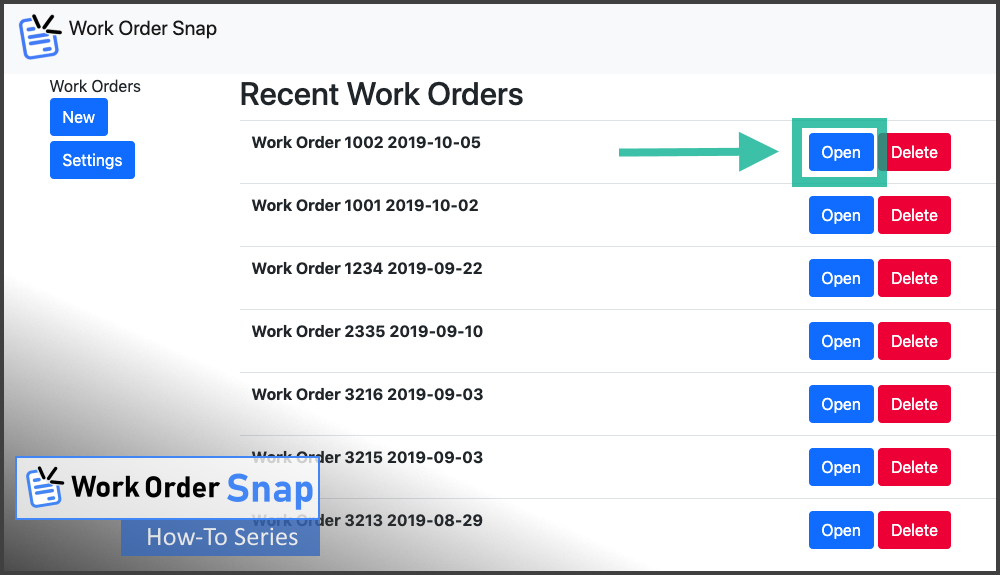 work order snap save pdf format open